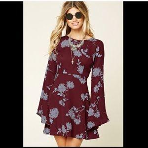 Maroon Floral Bohemian Dress w/ Bell Sleeves